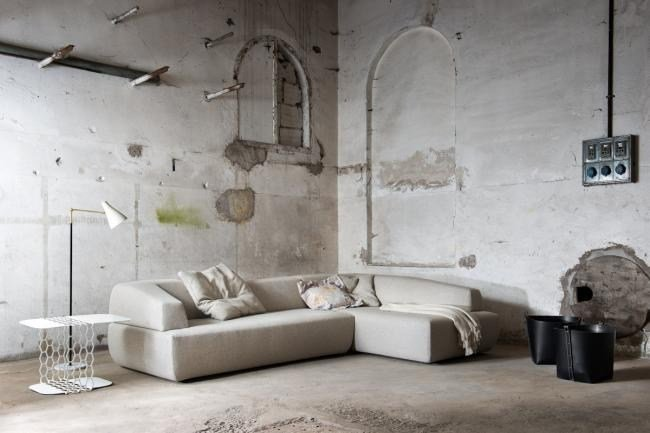 Upholstered fabric sofa ITALO | Sofa with chaise longue by Minimomassimo