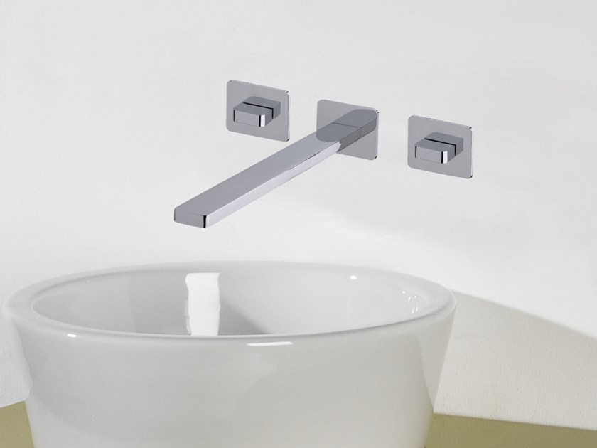 3 hole wall-mounted chromed brass washbasin tap ITAP T6.16.3F | Washbasin tap by Water Evolution