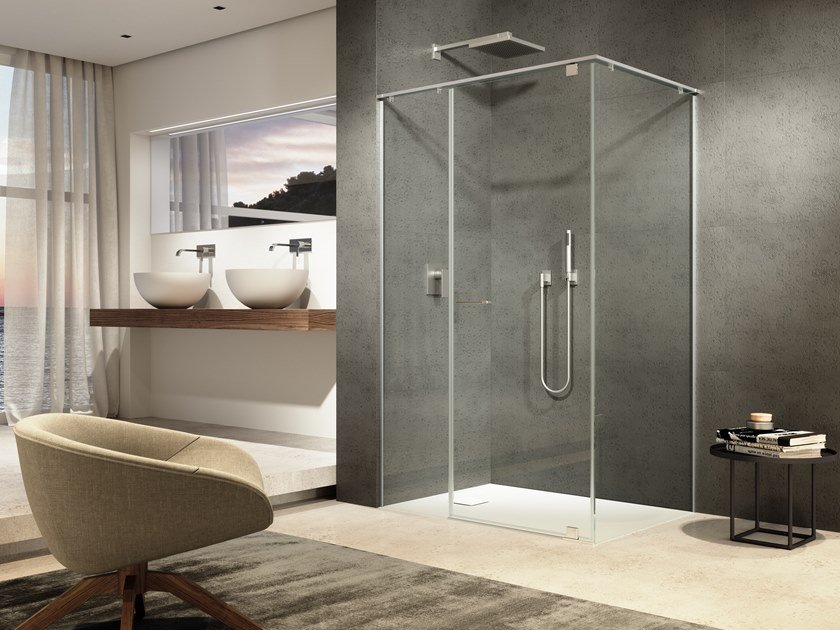 Corner tempered glass shower cabin IUNIX | Corner shower cabin by Provex Industrie