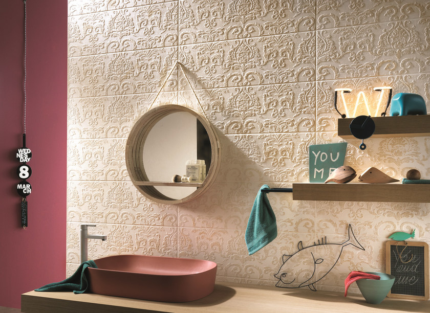 Indoor white-paste wall tiles COUTURE  Ivoire Arabesque by Impronta Ceramiche