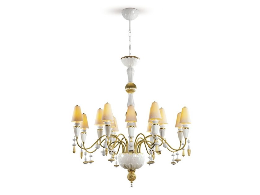 Porcelain chandelier IVY AND SEED 16 GOLDEN LUSTER by Lladró