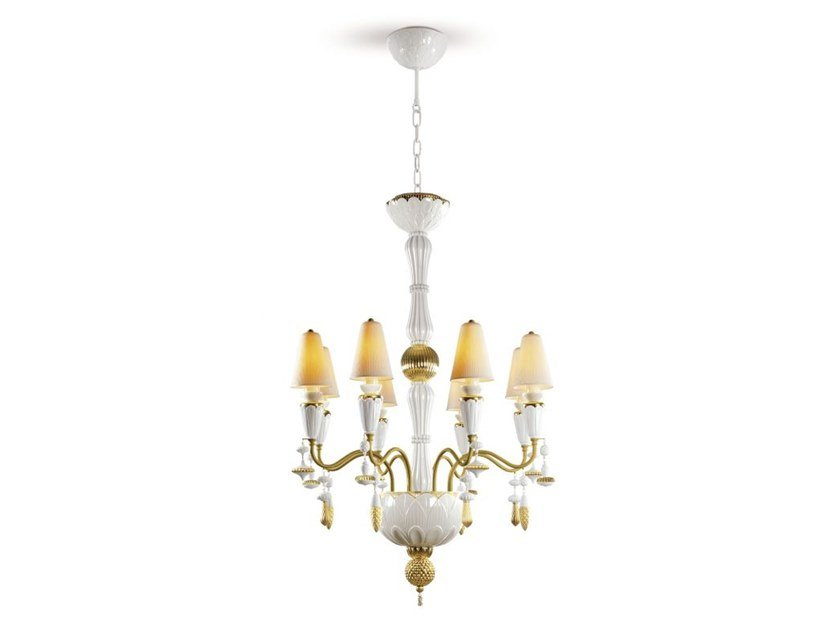 Porcelain chandelier IVY AND SEED 8 GOLDEN LUSTER by Lladró