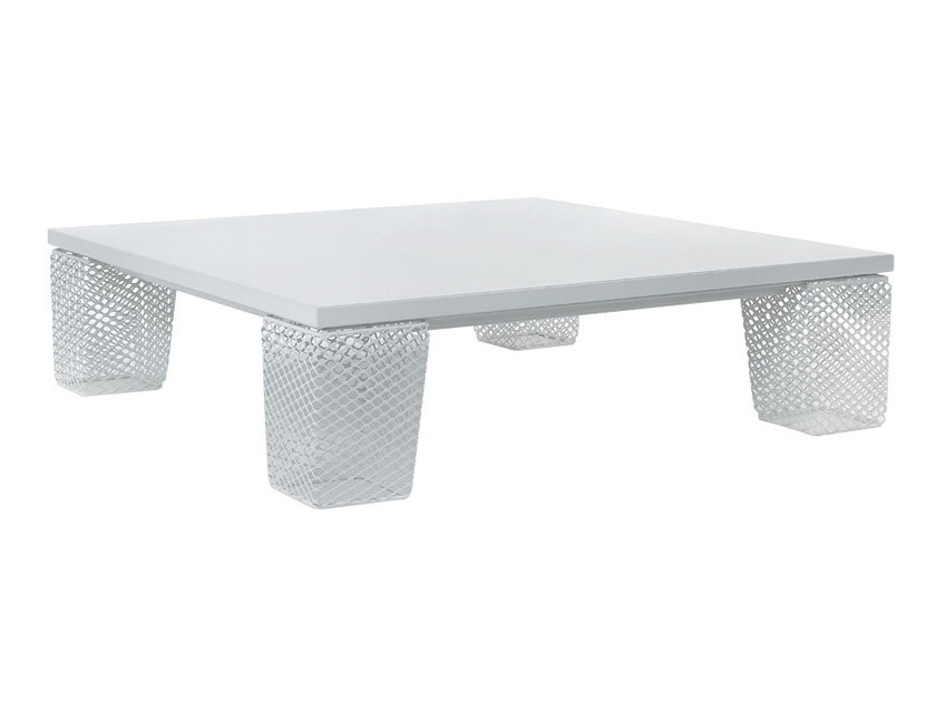Low square steel garden side table IVY | Low coffee table by emu