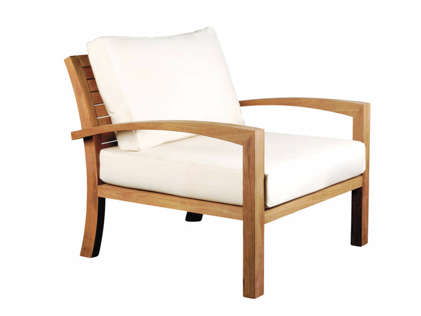 Upholstered fabric garden armchair with armrests IXIT | Garden armchair with armrests by ROYAL BOTANIA