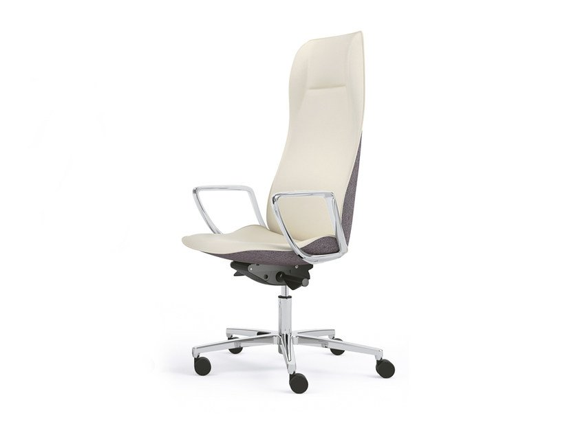 High-back leather executive chair with armrests JADA | High-back executive chair by Sesta