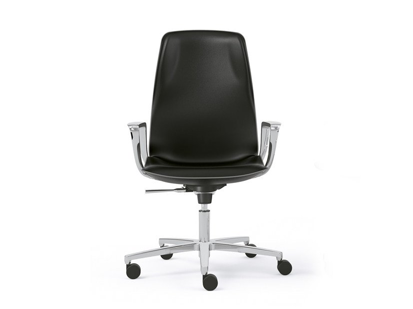 Medium back leather executive chair with armrests JADA | Medium back executive chair by Sesta