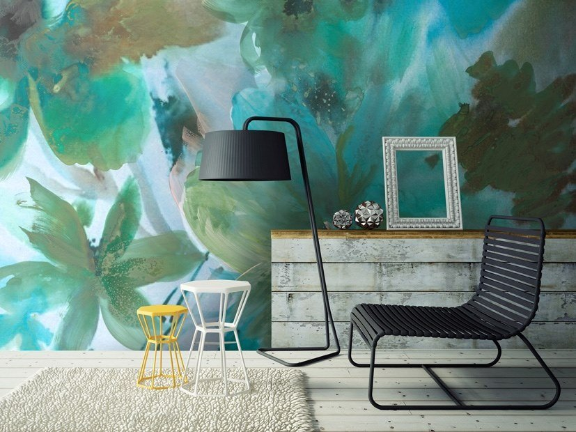 Rubber waterproof wallpaper with floral pattern JADE by Tecnografica Italian Wallcoverings