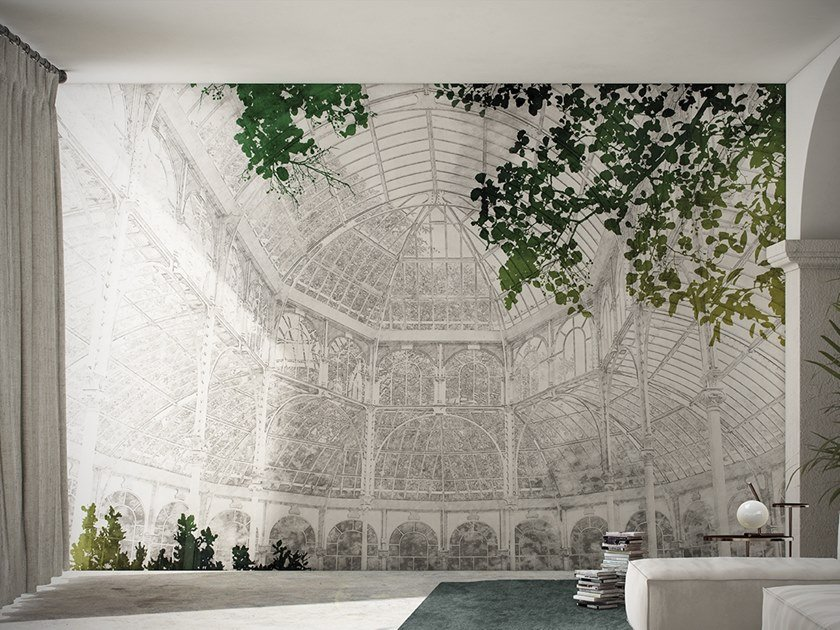 Wallpaper with floral pattern JARDIN DES PLANTES by GLAMORA