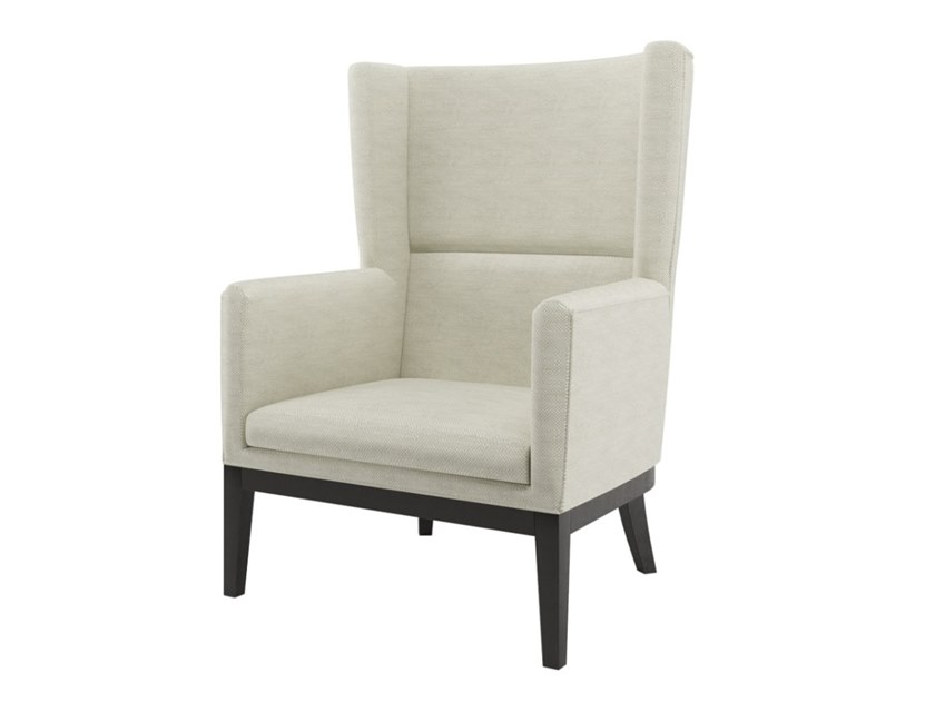 Upholstered fabric armchair with armrests JASMINE by FRATO