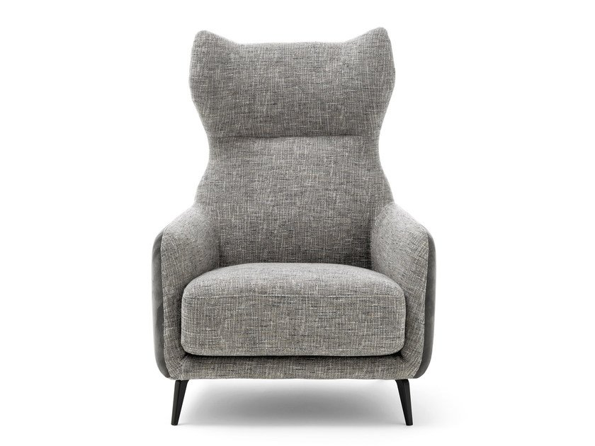 Fabric wingchair with armrests DUFFLÉ | Fabric armchair by Ditre Italia