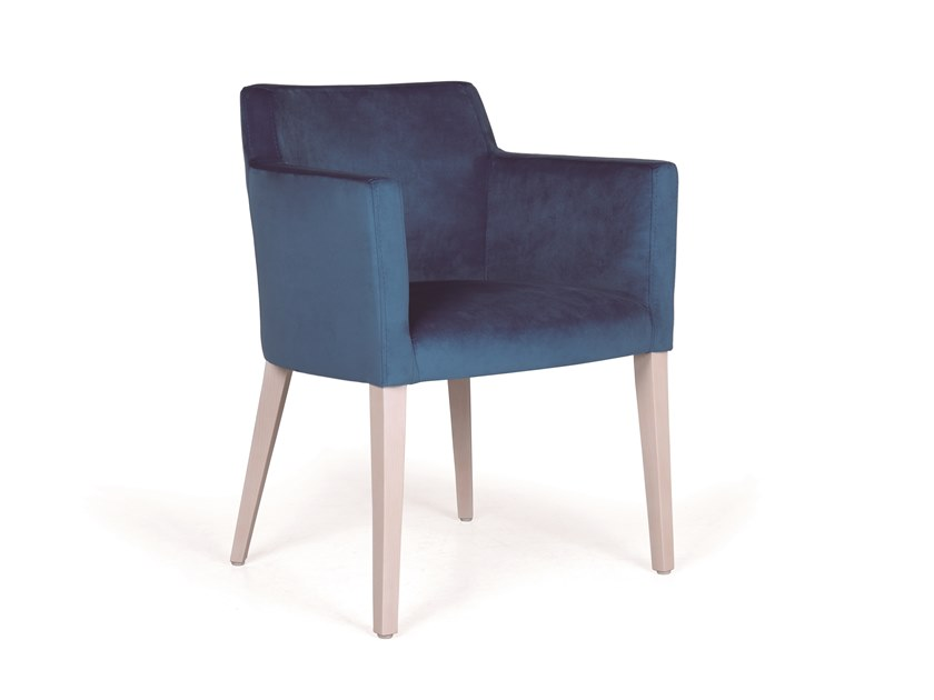 Upholstered fabric chair with armrests JASY MAPLE by Fenabel