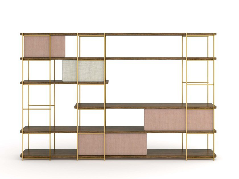 Modular shelve with upholstery doors JULIA JE05 by Momocca
