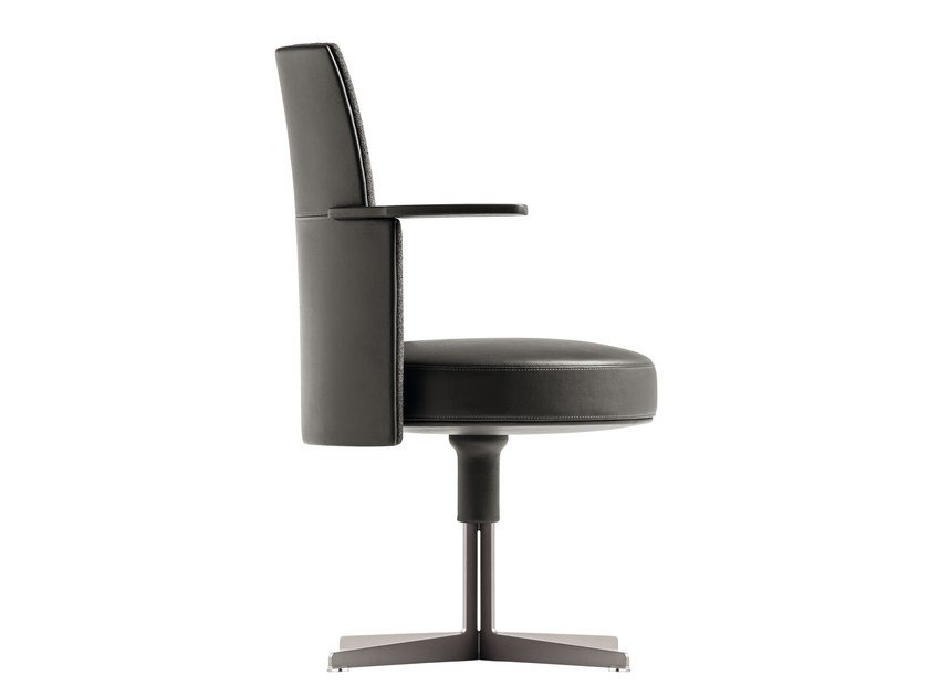 Swivel chair with 4-spoke base with armrests JEFF | Chair with armrests by Poltrona Frau