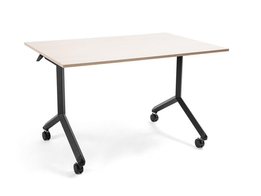 Tavolo rettangolare in legno con piano a ribalta con ruote JEFFERSON by AP Factor