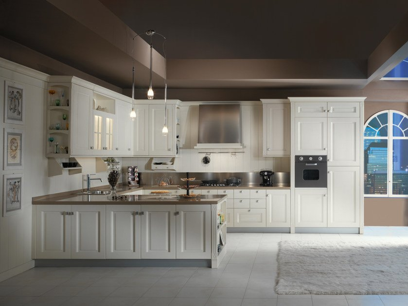Solid wood fitted kitchen with peninsula JENNY | Kitchen with peninsula by Floritelli Cucine