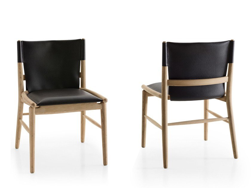 Upholstered leather chair JENS | Chair by B&B Italia