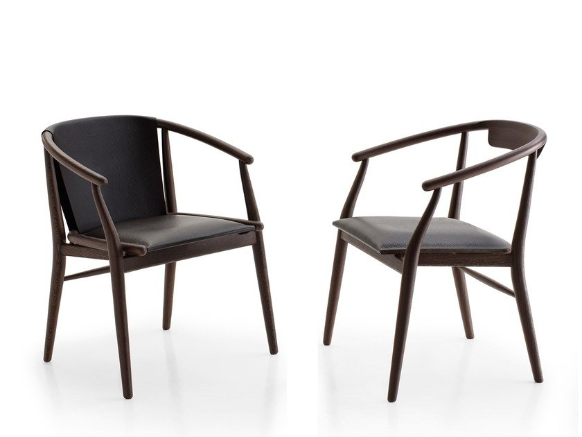 Upholstered leather chair with armrests JENS   Chair with armrests by B&B Italia