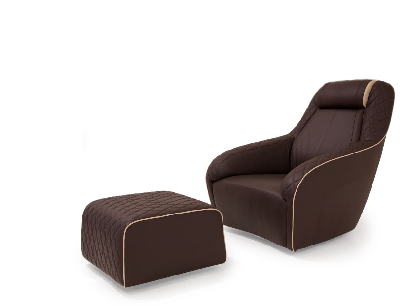 Swivel upholstered leather armchair with armrests JEREZ | Armchair by Tonino Lamborghini Casa