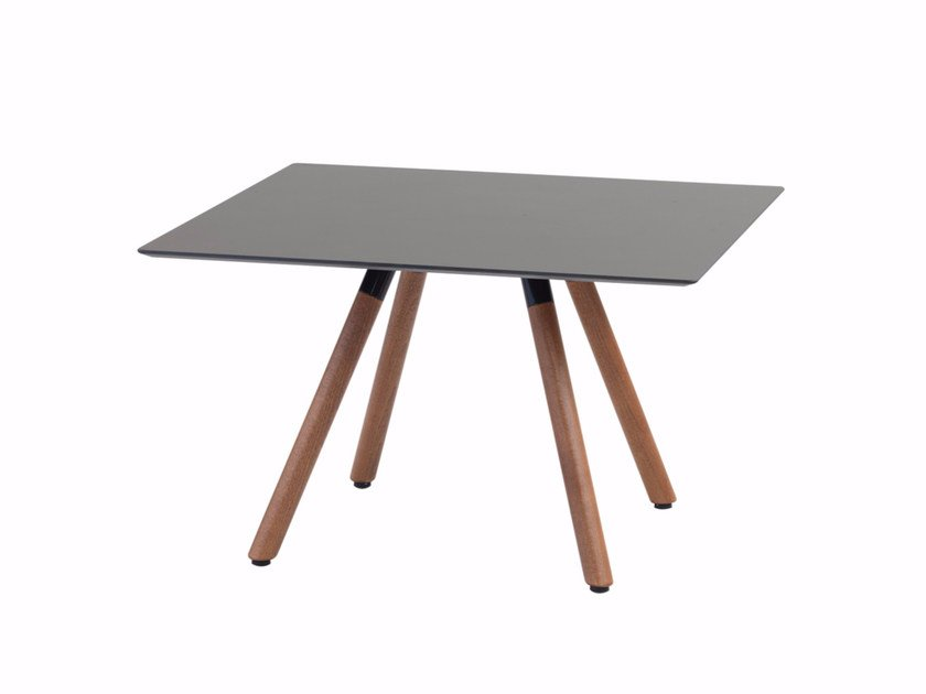 Square coffee table with wooden legs Jet 522Q by Metalmobil