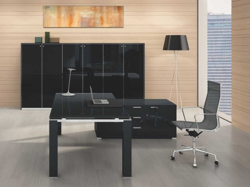 Acrylic office desk with cable management JET EVO | Office desk with shelves by Bralco
