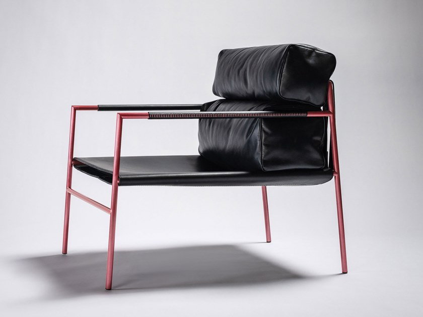 Leather armchair with armrests JK EASY CHAIR by Ritzwell & Co.