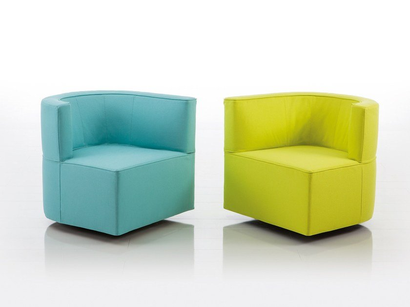 Modular fabric easy chair with armrests JO LOW | Fabric easy chair by brühl