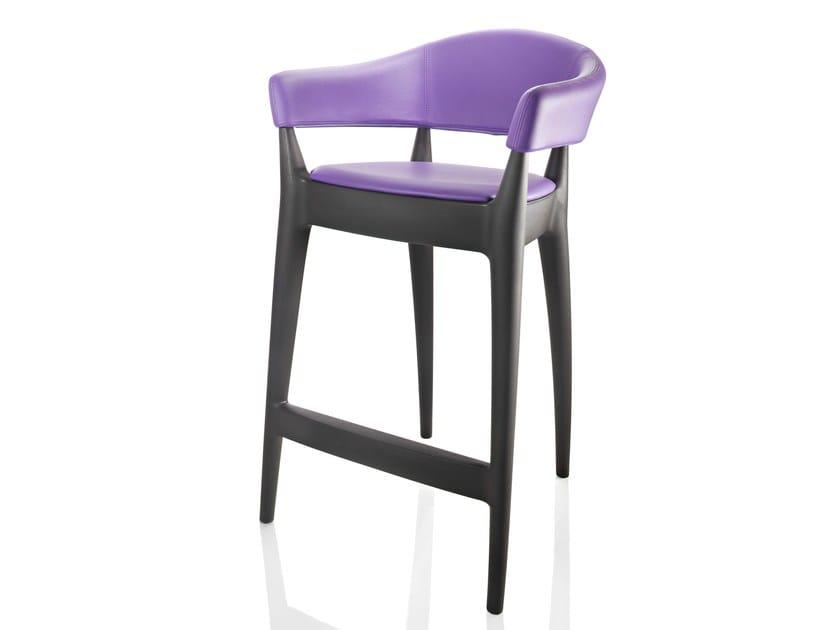 Polyethylene stool with armrests JO - STOOL | Upholstered stool by ALMA DESIGN