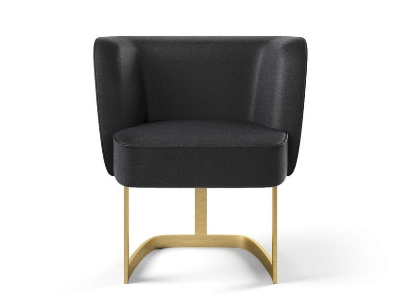 Upholstered fabric chair with armrests JOAN | Chair by MARIONI