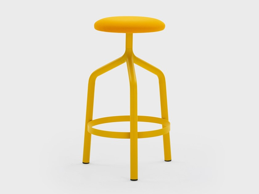 High fabric stool with footrest JOE by Viganò