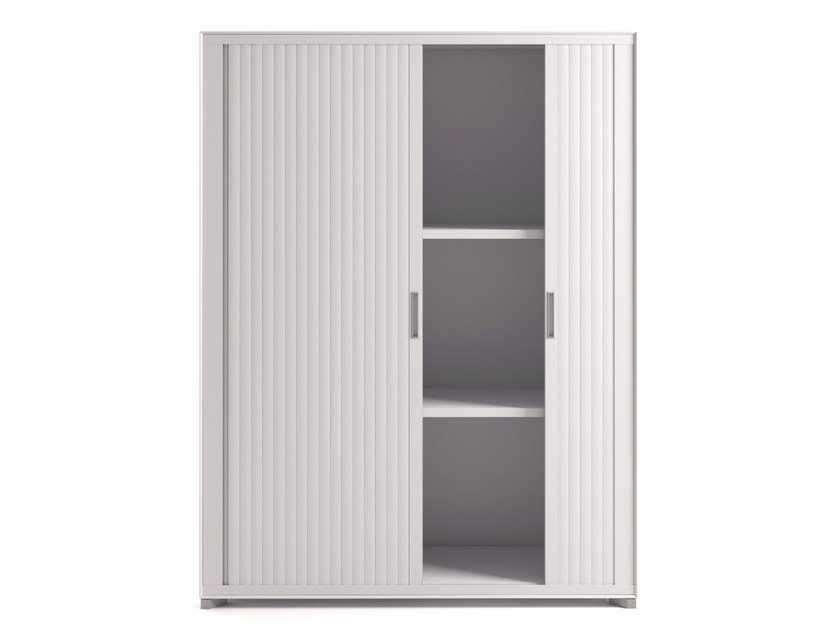 Tall plate office storage unit with tambour doors JOINT | Office storage unit with tambour doors by Steelbox by Metalway