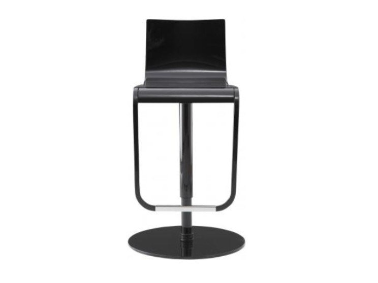 Height-adjustable steel and wood stool with footrest JOLIE by Ligne Roset