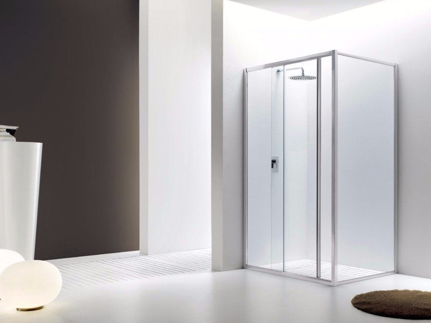 Corner glass shower cabin with sliding door JOLLY - 2 by INDA®