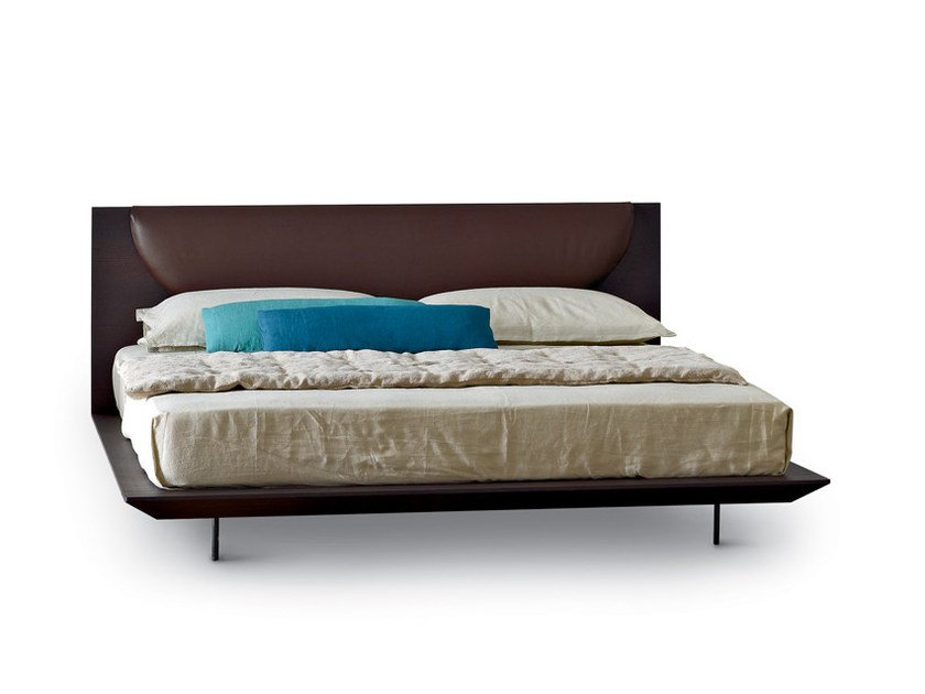 Wooden double bed with upholstered headboard JOY by arflex