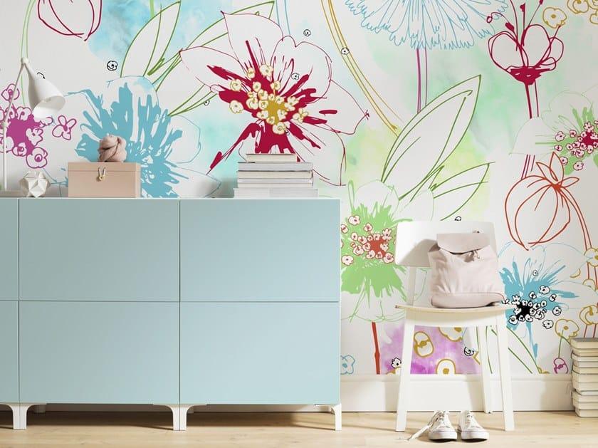 Nonwoven wallpaper with floral pattern JOYFUL by Komar