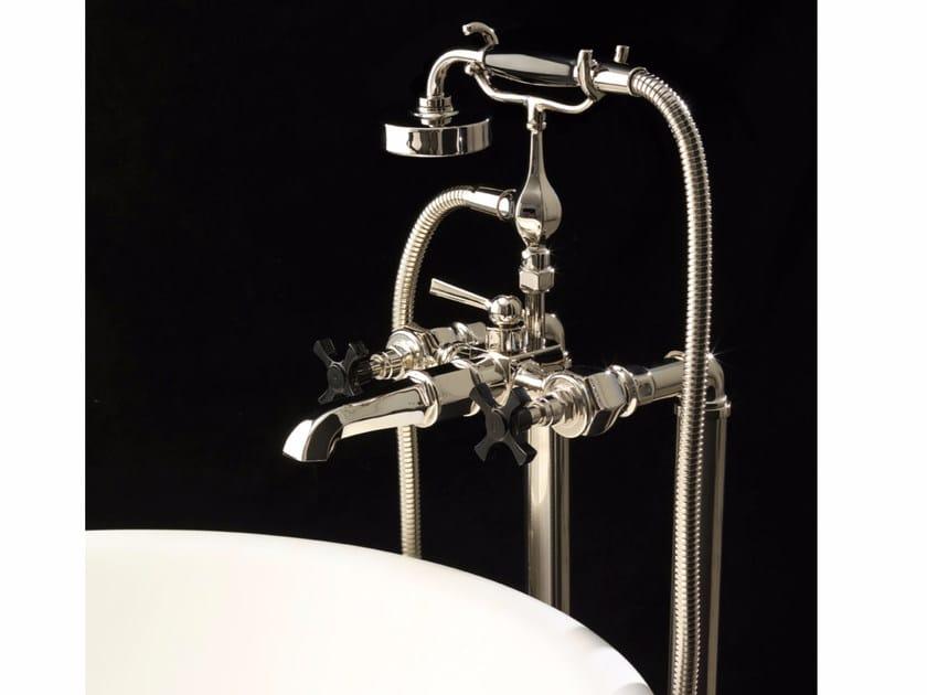 Floor standing bathtub tap with hand shower JUBILEE BLACK CROSS | Bathtub tap by Devon&Devon