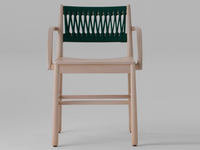 Open back beech chair with armrests JULIE | Chair with armrests by TrabA'