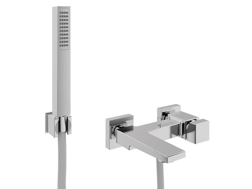Wall-mounted bathtub mixer with hand shower JUMP MONO | Bathtub mixer with hand shower by BIANCHI RUBINETTERIE