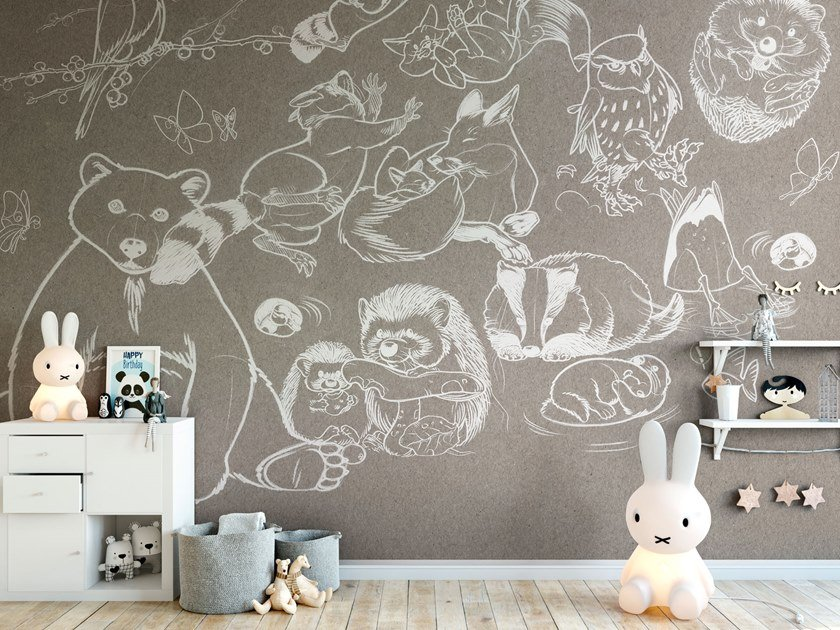 Rubber washable kids wallpaper JUMP by Tecnografica Italian Wallcoverings