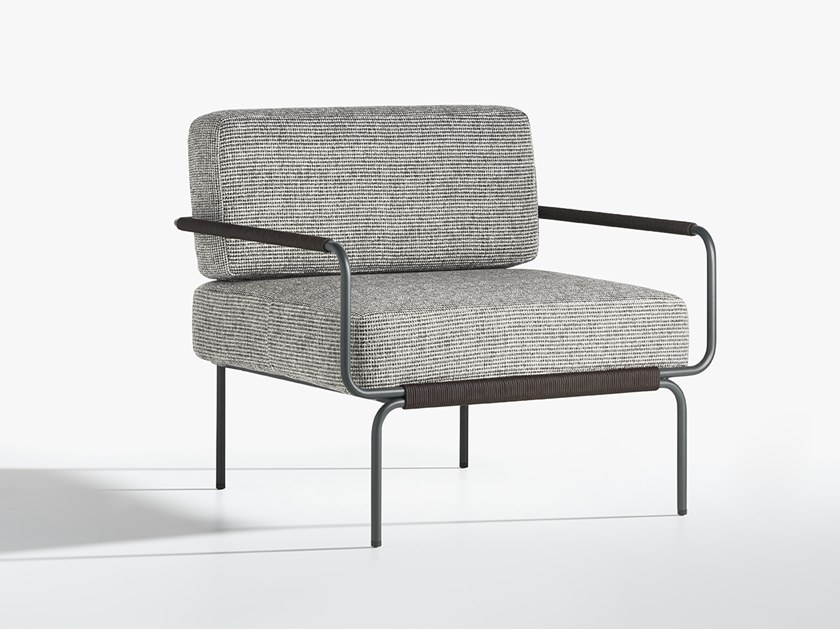 Upholstered fabric garden armchair with armrests JUNE by Potocco
