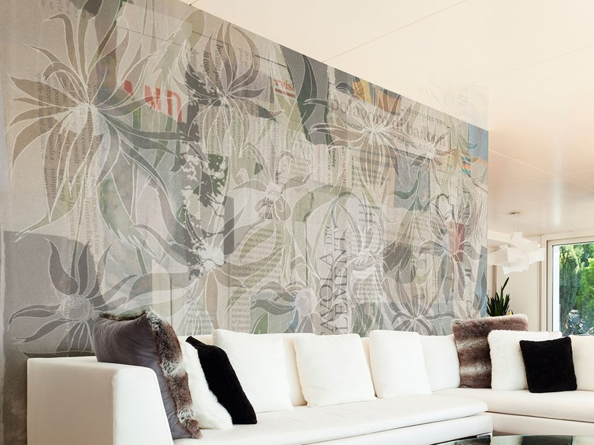 Rubber Digital printing wallpaper with floral pattern JUNGLE PAPER by Tecnografica Italian Wallcoverings