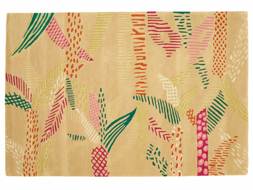 Rectangular Wool Rug With Floral Pattern Jungle By Ligne Roset