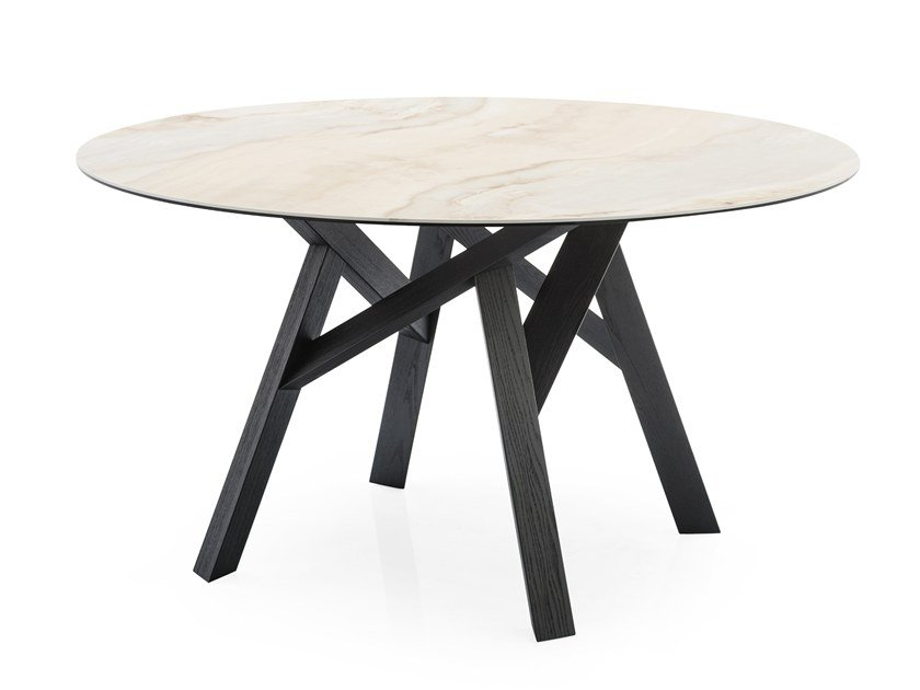 Round ceramic table JUNGLE | Round table by Calligaris