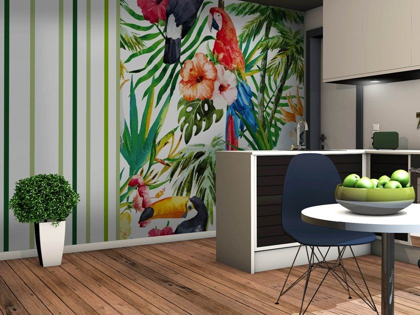 Wallpaper with floral pattern JUNGLE by Wall LCA