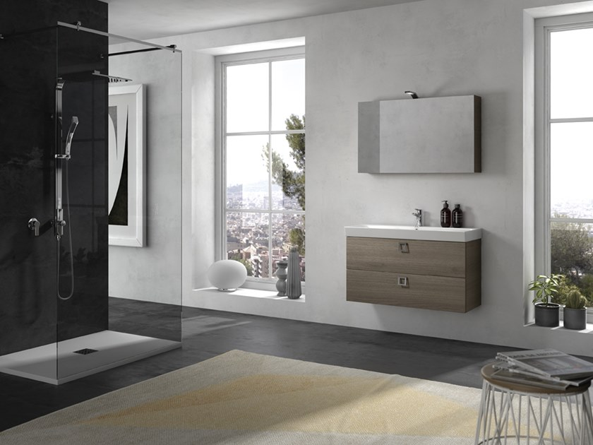 Mobile lavabo sospeso con specchio JUPITER 06 by BMT