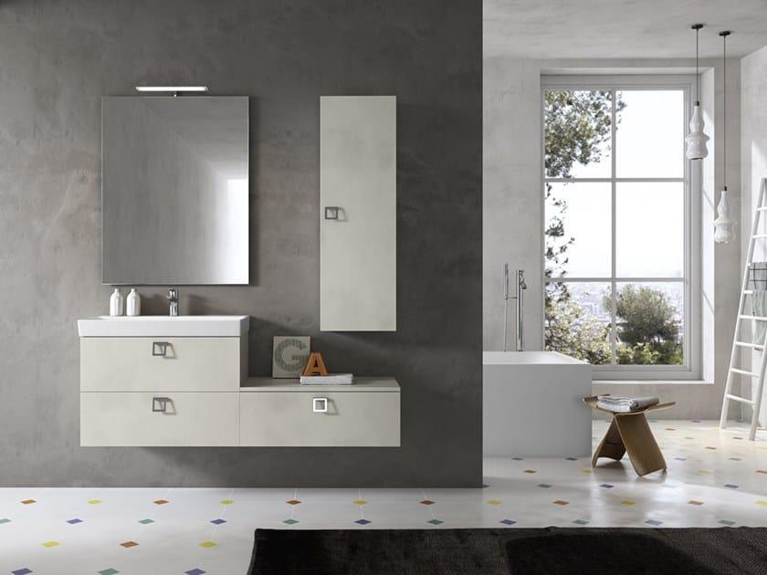 Mobile lavabo sospeso con specchio JUPITER 07 by BMT