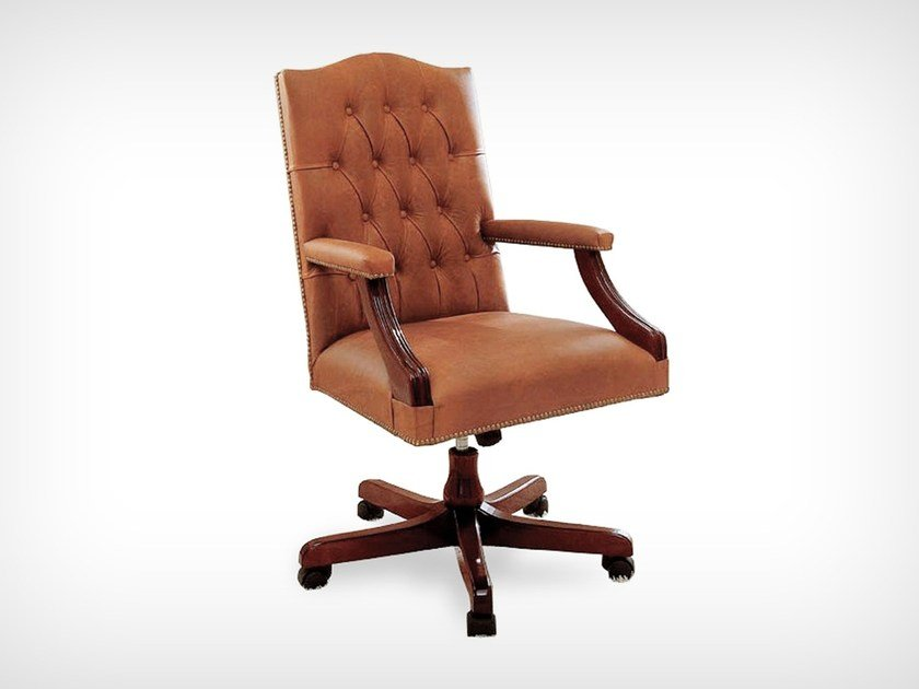 Swivel leather chair with armrests K 10518 | Swivel chair by L'Origine