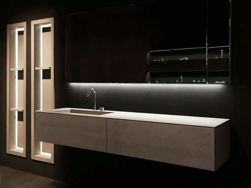 Single wall-mounted vanity unit with drawers K.KUBE CEMENTO GRIGIO by RIFRA
