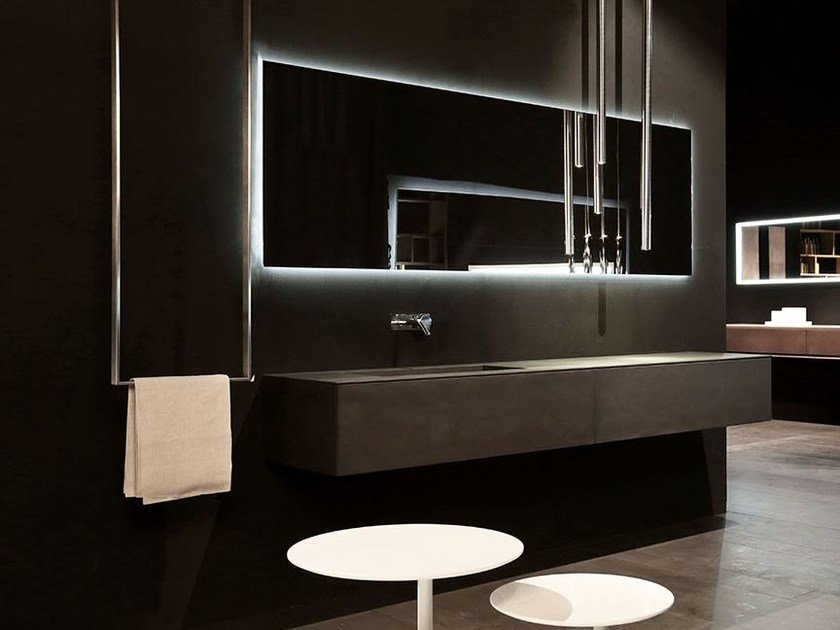Single wall-mounted vanity unit with drawers K.KUBE CEMENTO NERO by RIFRA