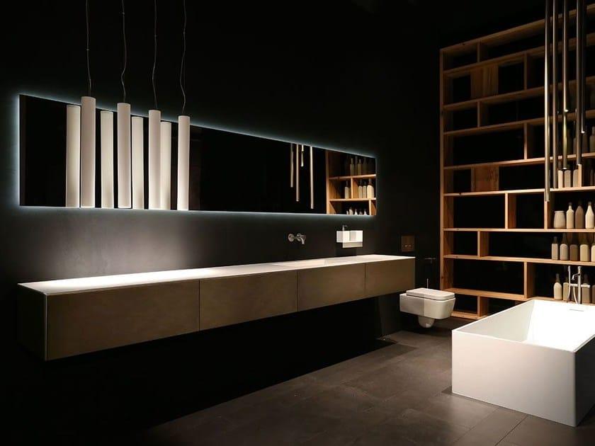 Single wall-mounted vanity unit with drawers K.KUBE METALLO BRONZO by RIFRA