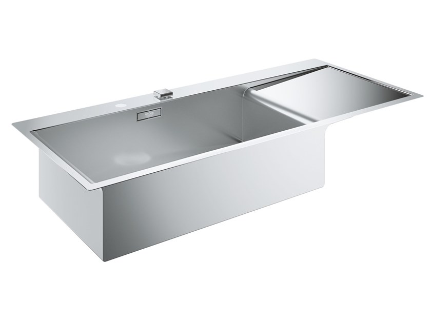 Single flush-mounted stainless steel sink with drainer K1000 - 31581SD0 | Sink by Grohe